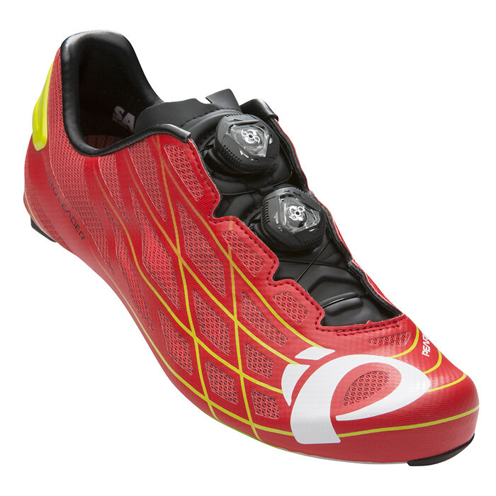 Pearl Izumi P.R.O. PRO Leader III Carbon Road Bike scarpe True rosso/Lime 42.5