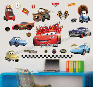 Large disney wall stickers cars boys lightning mcqueen for Disney cars large wall mural