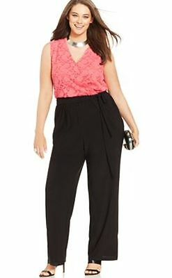 NY Collection Plus Size 2X Sleeveless Lace Wide-Leg Jumpsuit Pink / Black $69.00