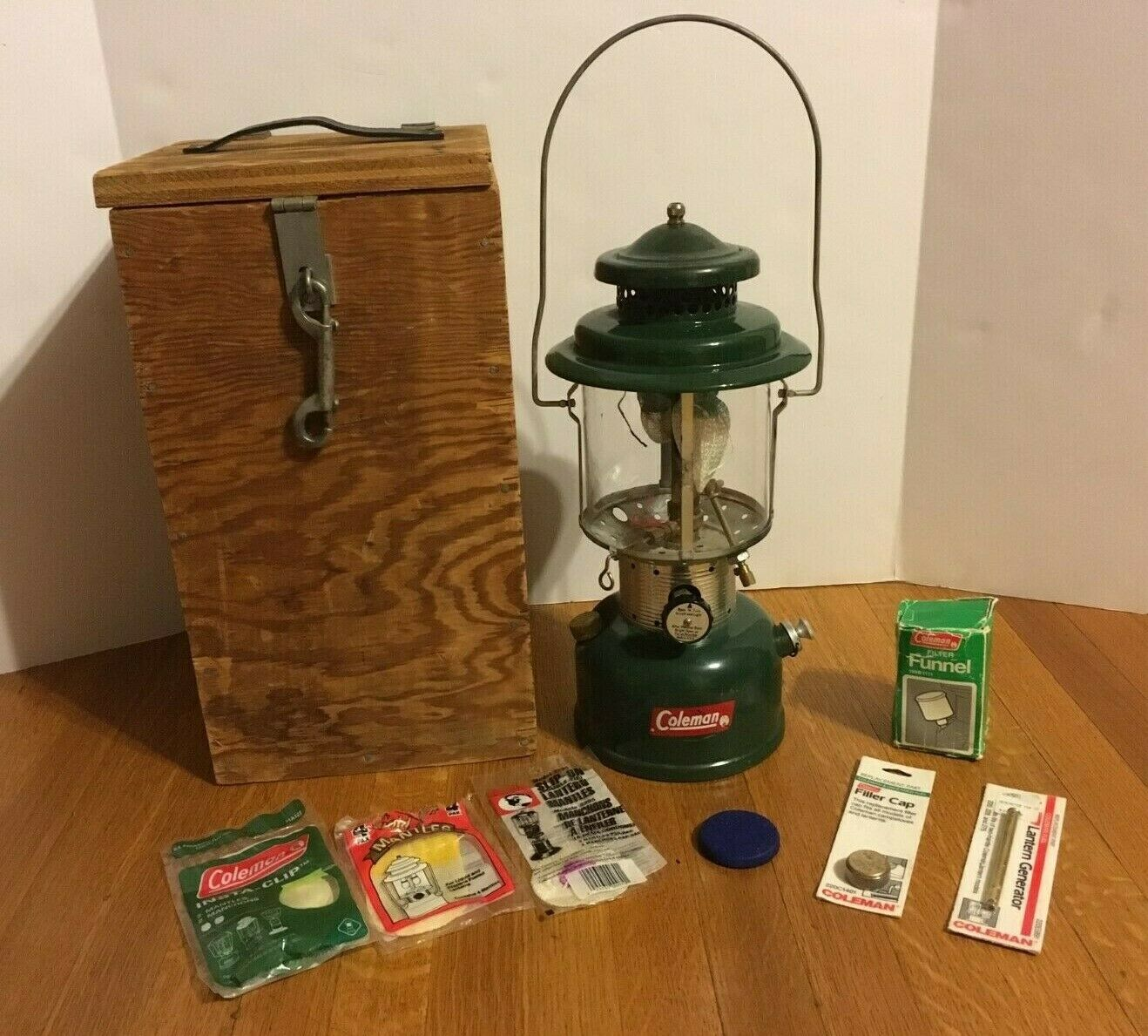 Vintage Coleman Lantern Model 220E With Mantles, Funnel, Cap, Generator, Box