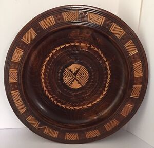 Vintage 10 34 Hand Carved Wood Bowl Wooden Centerpiece Deep Plate