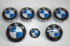 7-set-BMW-Bleu-Blanc-Insigne-Capot-Coffre-Volant-Enjoliveur-roue-NEUF
