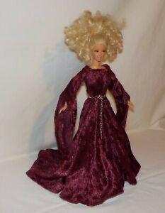 Handmade Burgundy or Wine Velvet Panne Medieval Dress and Belt for Doll
