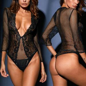 Black Teddy Fishnet Floral Lace V Cut Long Sleeved Boudoir Bodysuit ... f459828b8