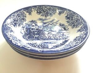 Royal-Stafford-COACHING-SCENE-BLUE-Coupe-Cereal-Bowls-Horses-Carriage-Set-of-3