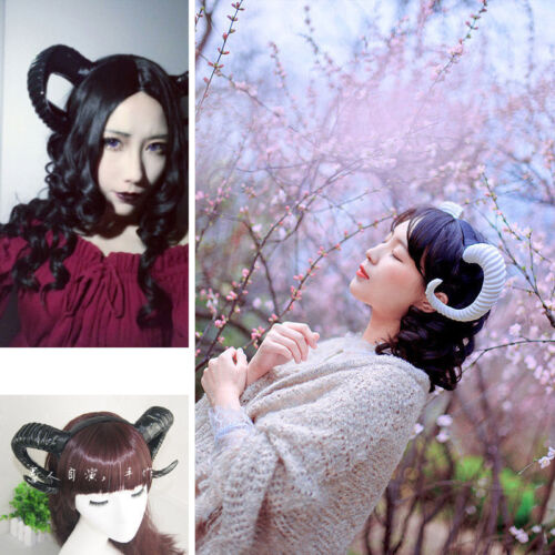 Handmade Elk Horn Sheep Headband Accessory Demon Evil Gothic Lolita Cosplay prop