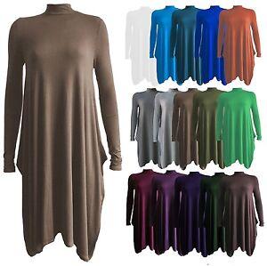 Damen-Polohemd-Hoch-Rollkragen-Langaermlig-Ausgestellt-Swing-Skaterkleid