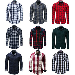New-Men-039-s-Slim-Fit-Casual-Shirt-Long-Sleeve-Dress-Shirts-Plaid-Cotton-Shirt-Tops