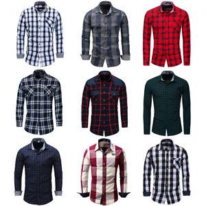 Nuevo-Para-hombres-Calce-Ajustado-Camisa-Informal-Mangas-Largas-Camisa-Top-de-algodon-tela-escocesa