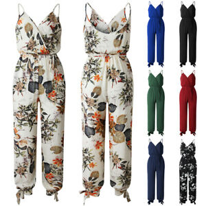 Women-Strappy-Rompers-Jumpsuit-Summer-Beach-Floral-Trousers-Playsuit-Holiday