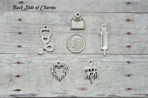 14pc or 5pc Nurse Charm Set Lot Collection// RN,Stethoscope,Love,Hospital,RX,Shot