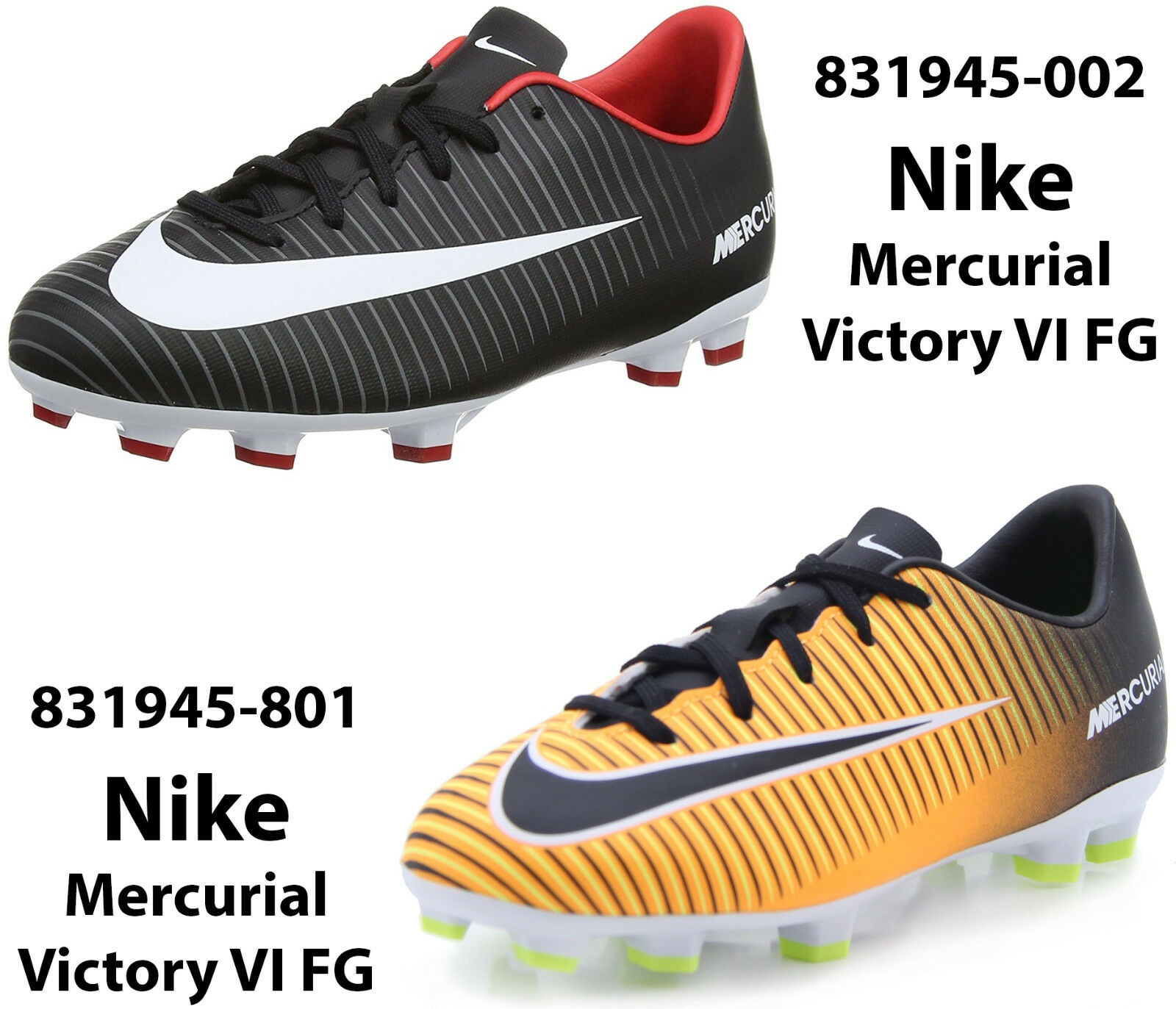 e627bc08ea5 NIKE JR MERCURIAL VICTORY VI FG Boys Soccer Cleats FG Firm Ground shoes New