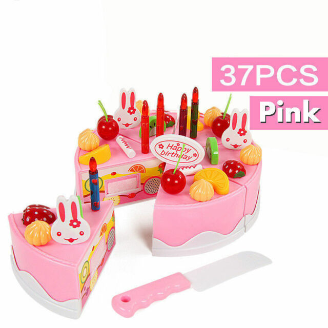 37 Piece Pretend Role Play Kitchen Toy Happy Birthday Cake Food Cutting Set Kids