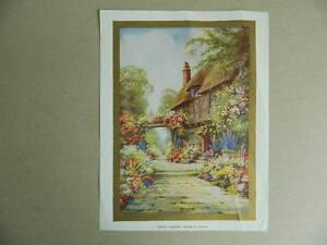 Gravur Farbig Kitschbild Nach Einer Gemälde Englisch Sxatue Park Geblümt