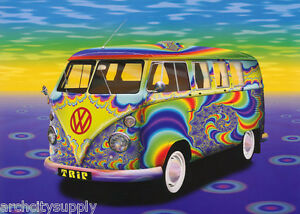 POSTER : PSYCHEDELIC VW BUS            FREE SHIPPING !     #PP0192 RC18 D