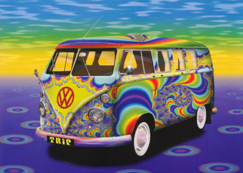 POSTER PSYCHEDELIC VW BUS FREE SHIPPING! #PP0192 RC18 D