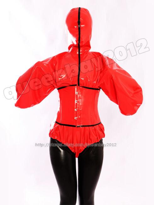 100% Latex Rubber Leotard Corset Hoody Suit Catsuit Hood Bodysuit Lace up Zipper