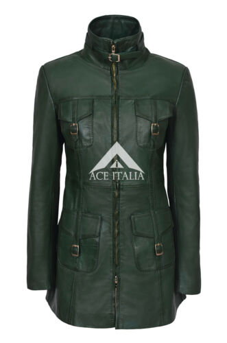 Coat Jacket Real Dark Ladies Gothic Lambskin Fitted 1310 Style Green Leather pwfBwx6qF
