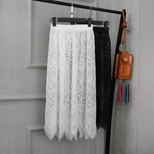 Lady-Lace-Sheer-Slips-Skirts-Floral-Mesh-Underskirt-Petticoat-Midi-Elastic-Waist