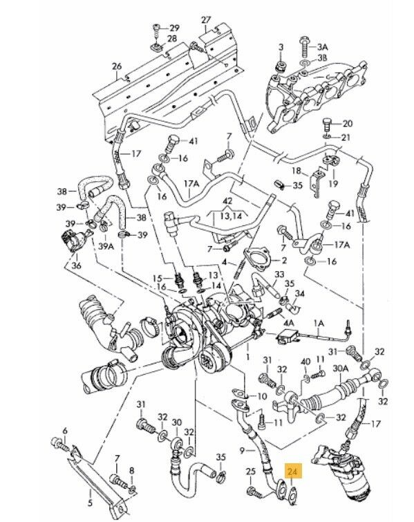 New Genuine Vw Audi Oil Return Line To Sump Gasket 058145757a For