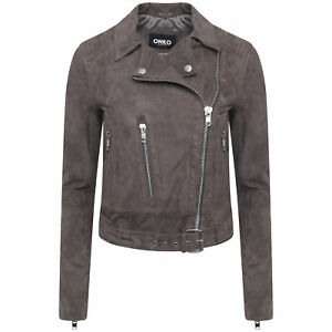 Women-039-s-Real-Suede-Biker-Jacket-In-Grey-Sizes-8-14-Free-Postage