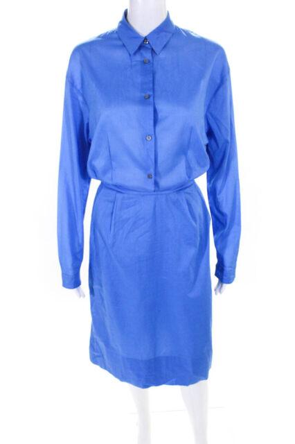 Jil Sander Womens Long Sleeve Two Pocket Shirt Dress Blue Size 38 Italy