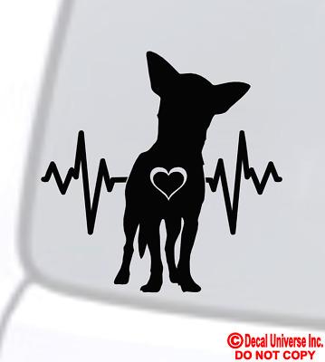 CHIHUAHUA LIFELINE Vinyl Decal Sticker Car Window Bumper Dog Paw Love Heartbeat