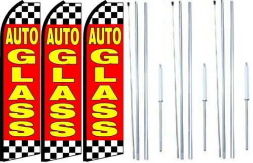 Auto Glass Swooper Flag With Complete Hybrid Pole set 3 pack