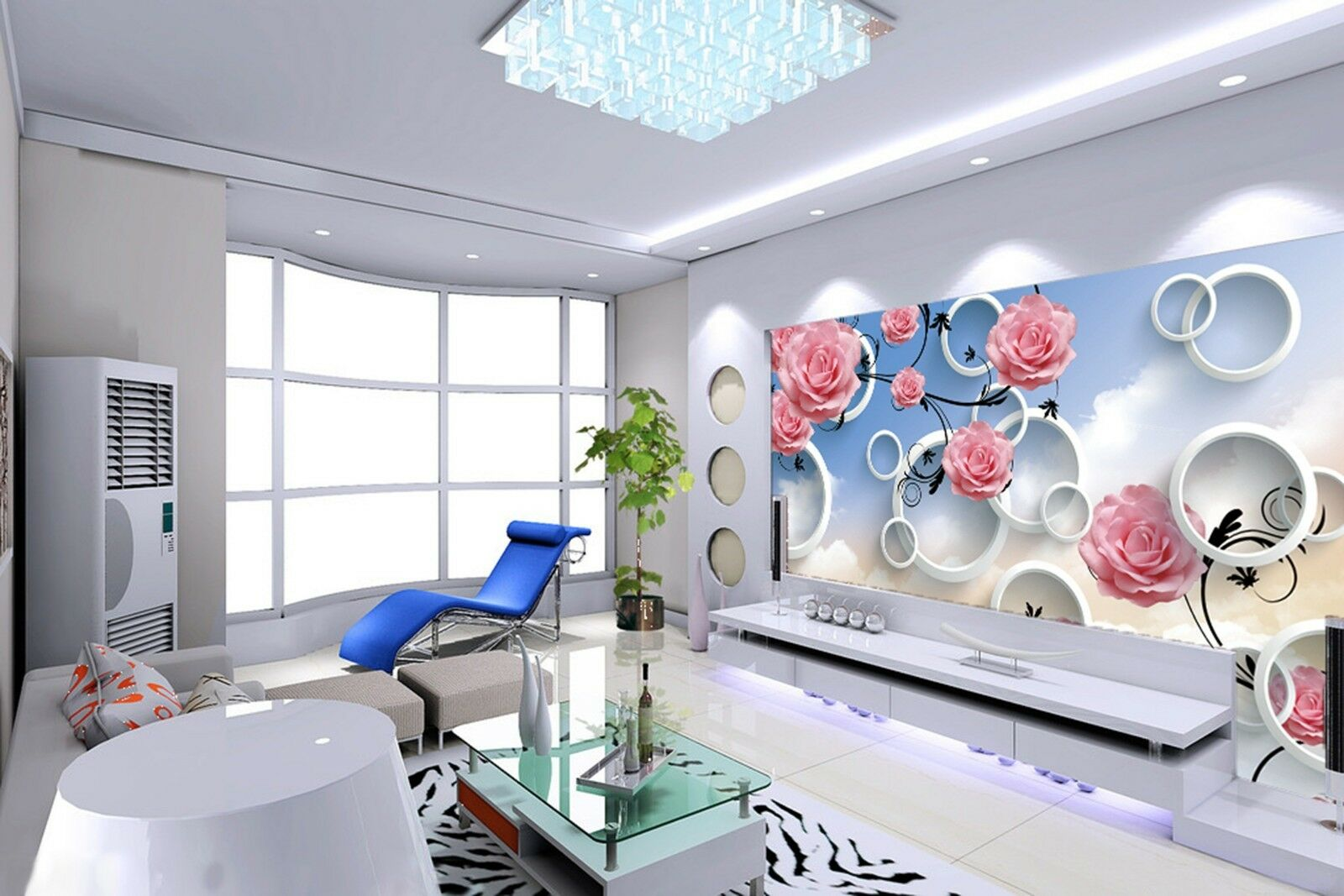 3D white coulds flowers Wall Paper Print Decal Wall Deco Indoor wall Mural