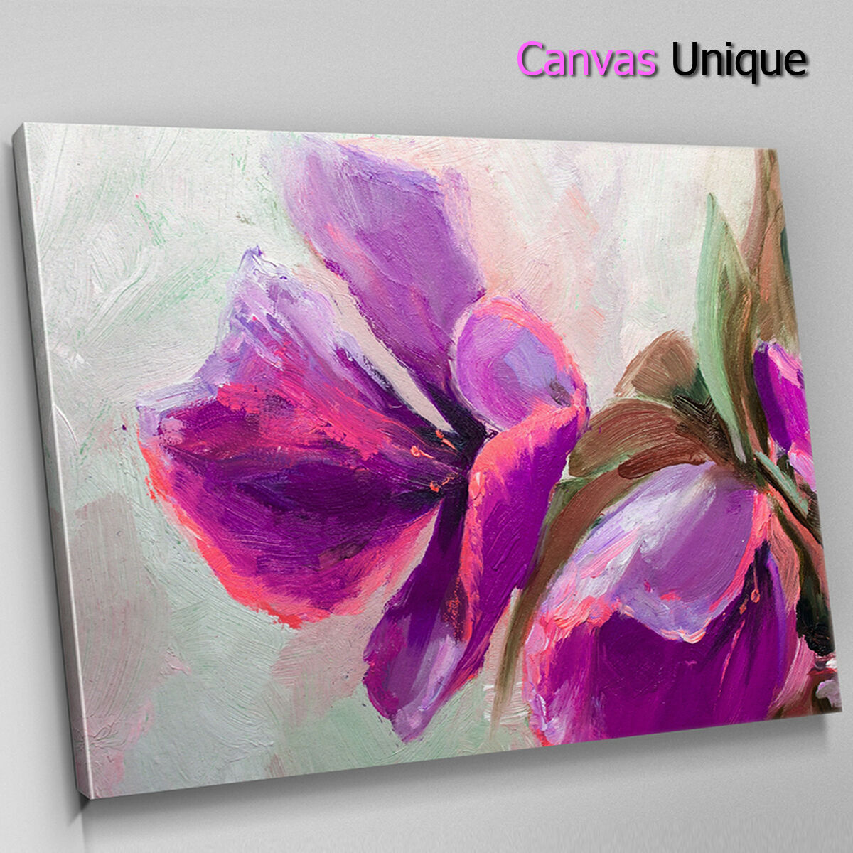 AB1371 lila floral paint effect Abstract Canvas Wall Art Framed Picture Print