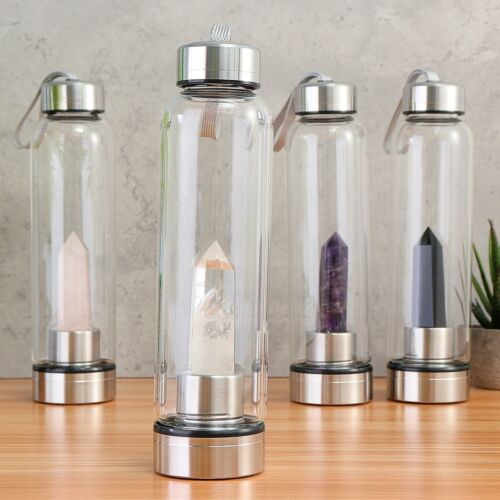 Natural Elixir Quartz Crystal Water Bottle Crystal obelisk Point Healing Wand