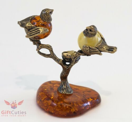 Solid Brass Amber Figurine of Birds and a Nest on a tree IronWork