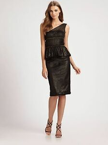 Ml Monique Lhuillier One Shoulder Black Dress