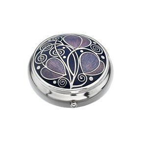 Pill-Box-Silver-Plated-Mackintosh-Leaves-and-Coils-Purple-Brand-New-and-Boxed