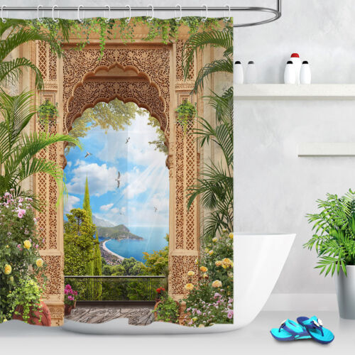 """72//79/"""" Waterproof Fabric Shower Curtain Set Balcony Arch Spring Flowers Seascape"""
