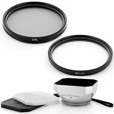 46mm Lens Hood + CPL+UV Filter Kit for Panasonic HDC SD900 SD800 TM900 HS900 Cam