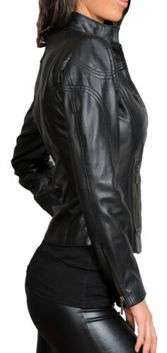Ladies REAL leather BIKER designer jacket Jenny womens black fitted zip up Coat