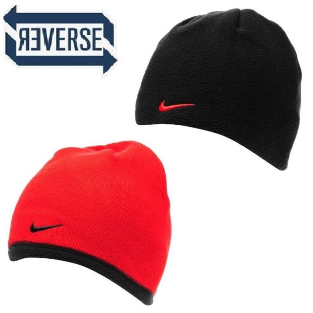 1f547063 Nike Swoosh Reversible Beanie Junior Kids 6-14 Yrs Fleece Knitted Red Black  S172