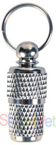 SMALL-ID-Capsule-TRIXIE-Chromed-Metal-for-PET-DOGS-amp-CATS