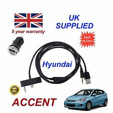 For Hyundai Accent iPhone 5 5c 5s USB Aux Audio Cable & 1.0A Power Adapter Black