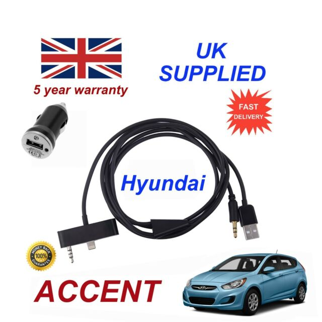 for HYUNDAI I30 iPhone 5 6 7 8 Audio AUX Music Interface Lighting Charge  Cable