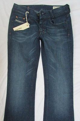 New Diesel Women Pants Jeans Classic Denim Dark Blue Boot Cut Legs W25 L32