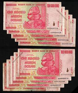 10-x-100-Million-Zimbabwe-Dollars-Banknotes-AA-2008-10PCS-Paper-Money-Collection