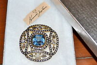 $275 Kenneth Jay Lane Blue Topaz Rhinestone Cz Pave Crystal Brooch Pin