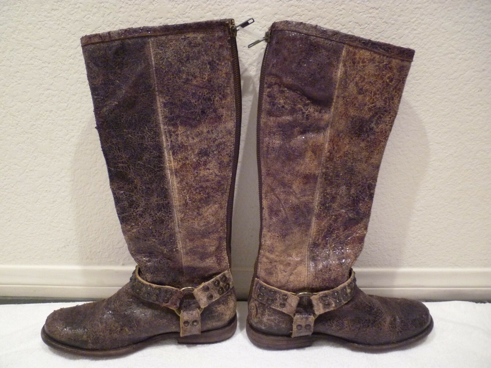398 FRYE Tall Phillip Studded Distressed Chocolate Brown Harness Boots SZ 6.5