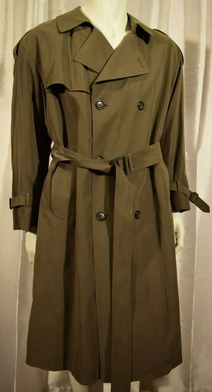 Men's Vintage London Fog Tan Trench Coat with Liner Size 40 Short