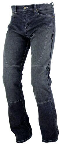 Donna Pantaloni Jeans moto protezioni aramide approvato rinforzi Nero