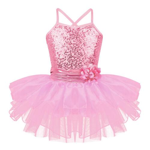 Girls Ballet Tutu Leotard Mesh Dance Dress Kids Gymnastic Leotard Costume Summer