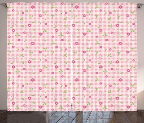 Blumen und Streifen rosa-Grün Rustikaler Vorhang