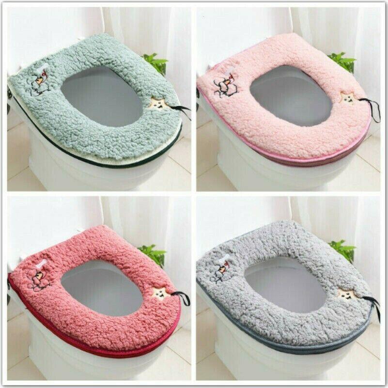 Bathroom Toilet Seat Cover Berber Fleece Warmer Mat Cover Zipper Washable